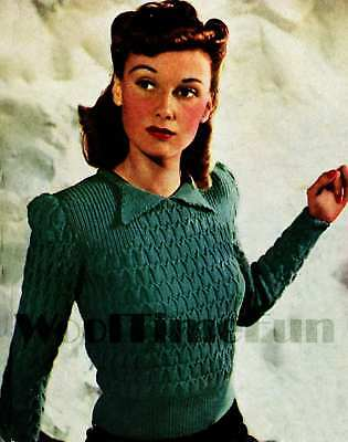 Knitting Pattern Lady's Vintage 1940s Jumper. 4Ply Yarn. Long Or Short Sleeves. • 1.70£