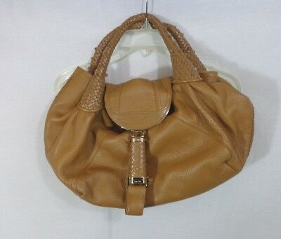 c9dc4448e6d0 Authentic Large FENDI Tan Brown Leather SPY HOBO Handbag Purse Bag - Free  Ship. •