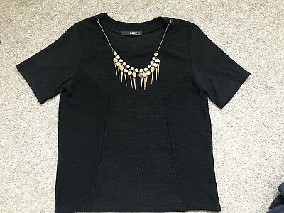 Quiz Top Size 8 Black Necklace Grunge Indie Formal Christmas Party Vtg Shirt • 13.99£