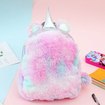 AU15.20 • Buy Fashion Soft Cute Mini Unicorn Backpack Rainbow Plush School Bag Girls Backbag D