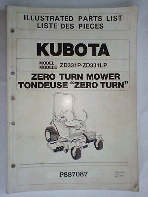 AU48 • Buy Genuine Kubota Illustrated Parts List Zero Turn Mower ZD331P ZD331LP