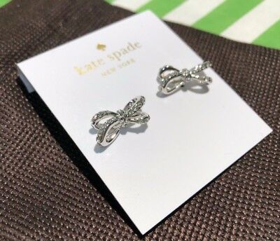 $ CDN47.40 • Buy New Authentic Kate Spade Tied Up Pave Studs Earrings Silver Crystal Bow+dust Bag