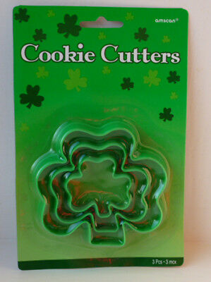 St Patricks Day Shamrock Shape Cookie Biscuit Cutters - 3 Pack Baking Accessory • 3.50£