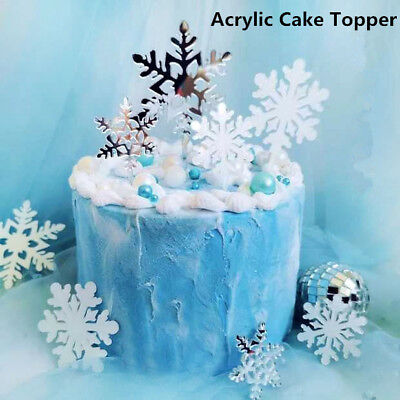 £0.99 • Buy Snowflake Cake Topper White Silver Romantic New Year Party Birthday Decoration