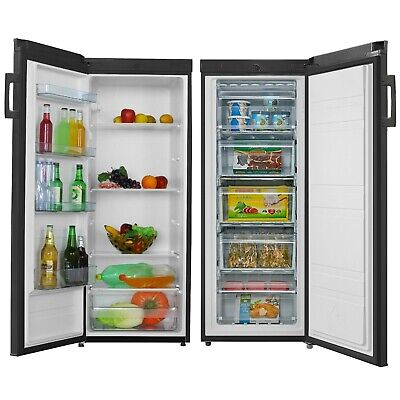 View Details Cookology Upright Fridge & Freezer Pack In Black, 55 X 142cm Tall, Side-by-Side • 529.99£