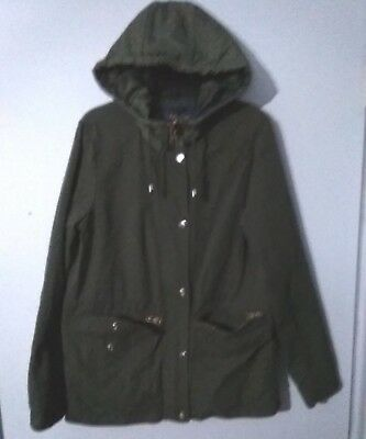 $9.99 • Buy Ladies BLUE RAIN Military Style Hooded Jacket In Army Green Size S