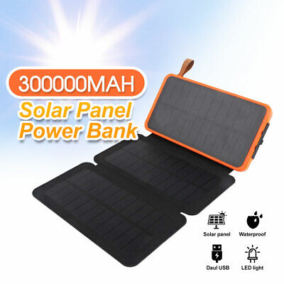 AU35.83 • Buy Waterproof Portable Solar Charger Dual USB External Battery Power Bank 300000mAh
