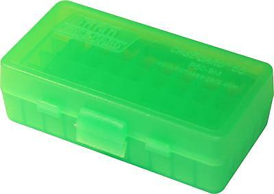 AU35.93 • Buy MTM PLASTIC AMMO BOXES (10) CLEAR GREEN 50 Round 9mm / 380 - FREE SHIPPING