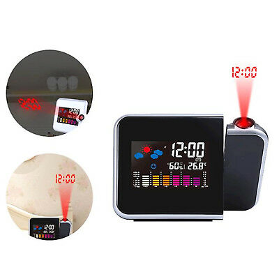 LED Digital Alarm Clock Time Projector Weather Thermometer Snooze LCD Color UK • 7.49£