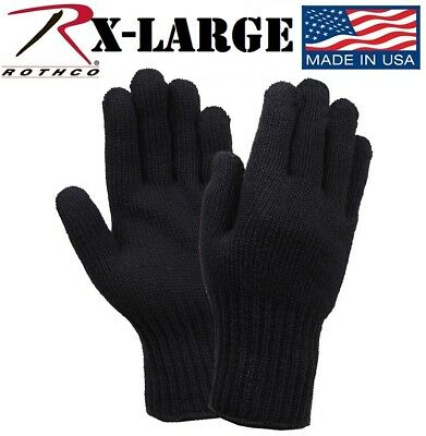 $8.98 • Buy X-LARGE Black 70% Wool Glove Liner Winter Cold Weather Military Gloves USA 8518
