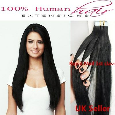 £42.99 • Buy Best Quality 24  Tape-In 8A* Premium Russian Remy Human Hair Extensions UK 1st