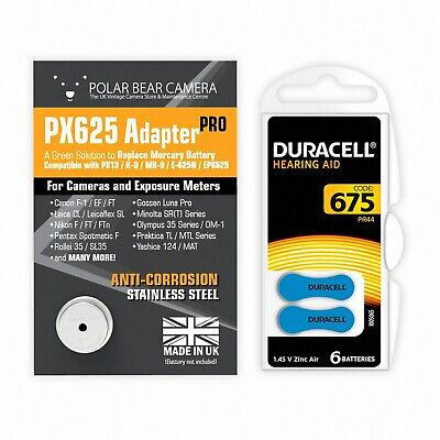 1.35V MR-9 PX625 MRB625 PX13 H-D EPX625 Mercury Cell Adapter+Battery Film Camera • 17.50£