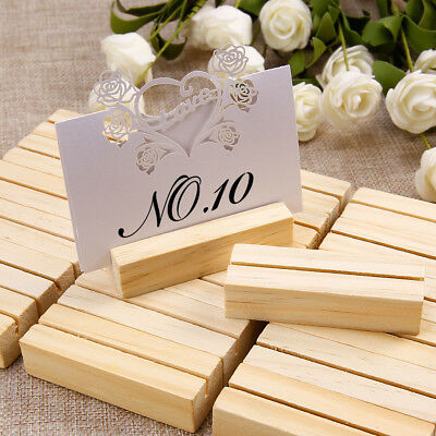 £7.49 • Buy 20 Pieces Wooden 7x2.3cm Menu Holders Number Note Photo Holding Card 2mm Slot