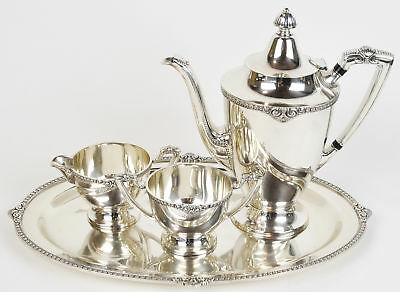 b59be0f0d510c Silver Plate Tea Pot Platter Creamer Sugar Bowl Set RJRG EPNS Collection •  95.00