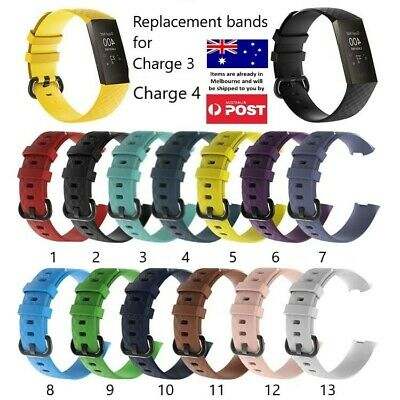AU7.95 • Buy Replacement Band - Fitbit Charge 3 4 Silicone Watch Wrist Sports Strap Wristband