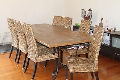 AU870 • Buy Dining Table (lovely Timber & Wrought Iron) And 8 X Cane Chairs And Coffee Table