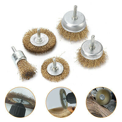 New 5 Pack Brass Wire Brush Wheel Cup Drill Attachments Edges Rust Removal. • 5.29£