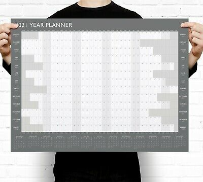 Grey A2 2020 Year Wall Planner ~ Yearly Annual Calendar Chart A2 Size Large • 3.49£