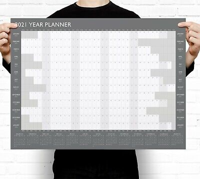 Grey A2 2021 Year Wall Planner ~ Yearly Annual Calendar Chart A2 Size Large • 3.49£