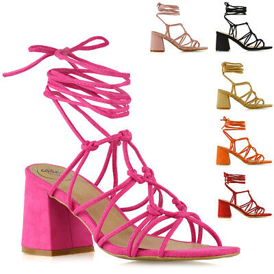 £16.99 • Buy Womens Mid Block Heel Sandals Ladies Strappy Caged Lace Up Ankle Open Toe Shoes