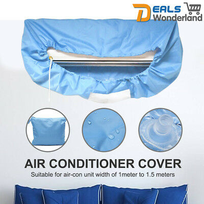AU23.50 • Buy Air Conditioner PU Cleaning Dust Washing Cover Clean Waterproof Protector Blue