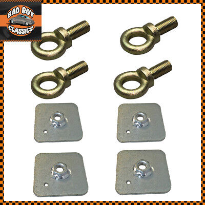 £12.95 • Buy Seat Belt Harness Eye Bolts + Backing Mounting Plates 7/16 Thread UNF X4
