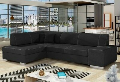 Corner Sofa Bed FABIO With Storage Container And Sleep Function New • 485£