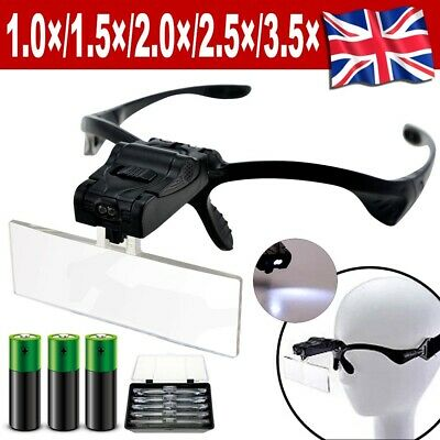 Led Head Magnifying Glasses Headset & Light Hands Free Headband Magnifier • 9.79£