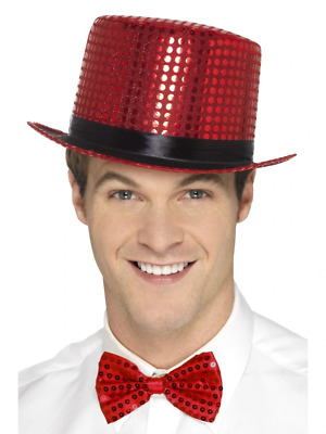 Adult Mens Sequin Top Hat Red Fancy Dress Accessory • 6.96£