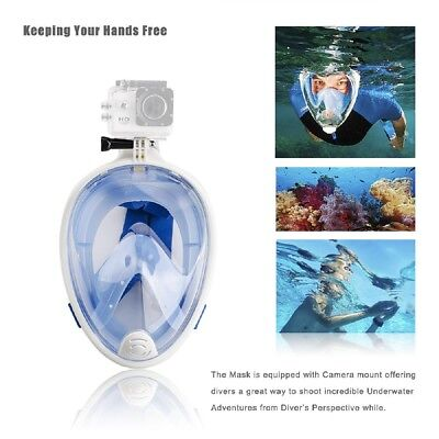 AU65.99 • Buy Snorkeling Full Face Mask Surface Dry Diving Scuba With GoPro Mount M Blue