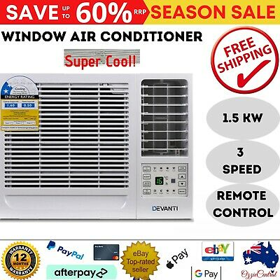 AU395.10 • Buy 1.6kw Air Con Cold Window Wall Box Conditioner W/o Reverse Cycle Cool Only Remot
