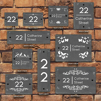 Rustic Natural Slate House Gate Sign Plaque Door Number Personalised Name Plate • 5.99£