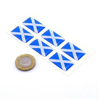 Scotland Flag Domed Gel Stickers Saltire Cross Car Vinyl Universal Decal 25mm X6 • 2.99£