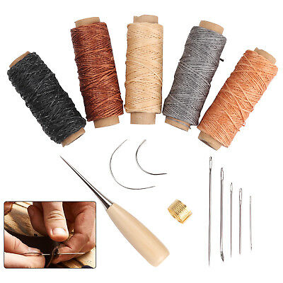 14 Leather Craft Punch Hand Stitching Carving Sewing Tool Thread Awl Thimble Kit • 8.99£