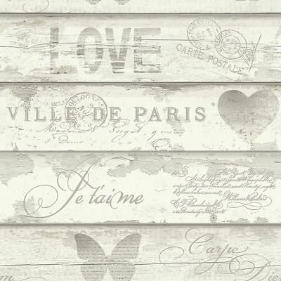Chic Wood Effect Wallpaper Caligraphy Typography Heart Butterfly Motifs Neutral • 10.49£