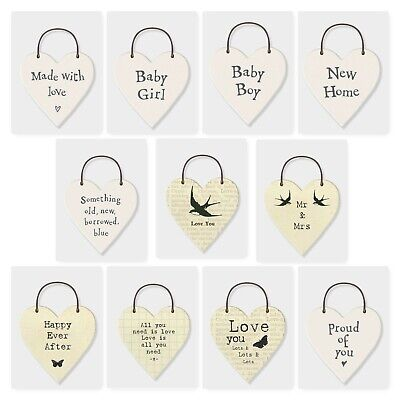 £1.89 • Buy East Of India Mini White Heart Tag/Keepsake Sign With Sayings Occasion Tags 3cm