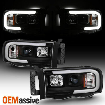 $218.99 • Buy For 02-05 Dodge Ram 1500 | 03-05 2500/3500 Light Bar Projector Headlights Black