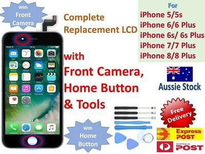 AU27.16 • Buy LCD Touch Screen Replacement With Home Button + Camera IPhone SE 5 6 6s 7 8 Plus
