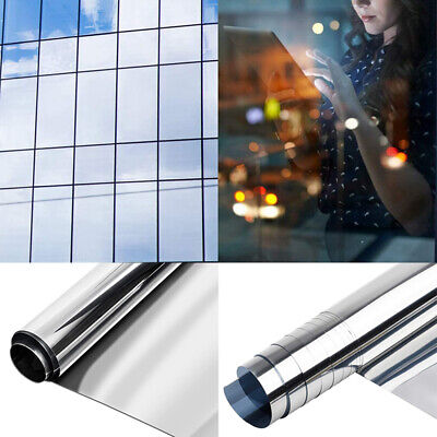 Reflective One Way Mirror Window Film Mirrored Privacy Sticky Glass Tint UK • 6.99£