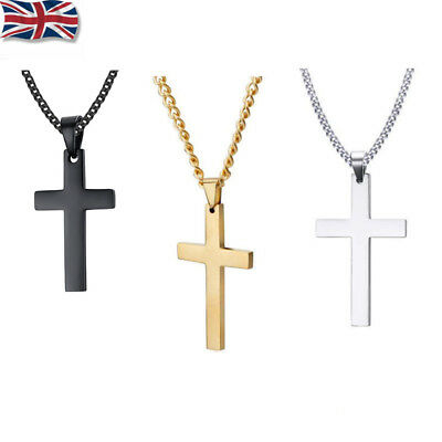 Mens Women Chain Necklace Cross Stainless Steel Pendant Crucifix Jesus New • 2.89£