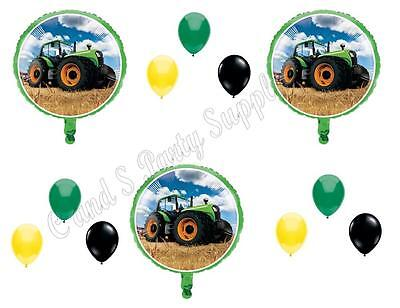 AU13.70 • Buy GREEN TRACTOR TIME 12 Pc Happy Birthday Party Balloons Decoration Supplies Farm