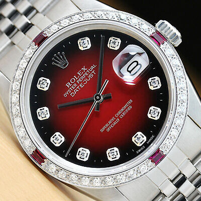 $ CDN7643.27 • Buy Mens Rolex Datejust Red Vignette Diamond Ruby 18k White Gold & Steel Watch 16014