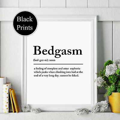 Bedgasm  Bedroom Definition Black Wall Print Typography Home Decor, Wall Art,   • 4.49£