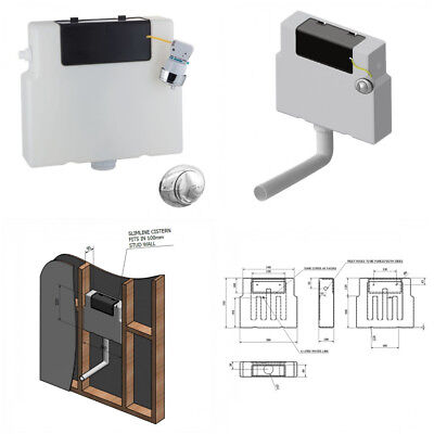 £29.95 • Buy Slim Line Dual Flush Concealed Cistern - Fits In 100mm Stud Wall/Compact Wc Unit