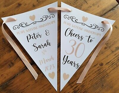 Personalised 30th Pearl Wedding Anniversary Party Bunting Banner Decoration • 4.99£