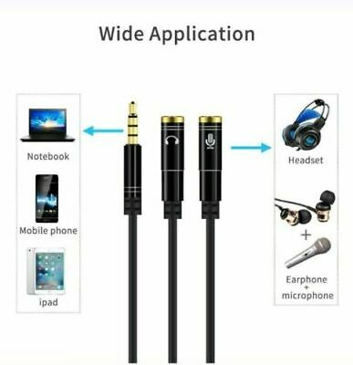 3.5mm Y Splitter 1Jack Male To 2 Female Headphone Audio Adapter Cable • 3.35£