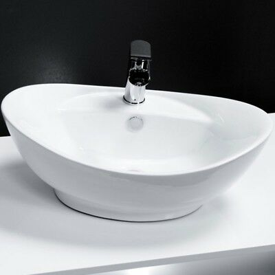 Bathroom White Oval Basin Sink Bowl Modern Ceramic Counter Top Tap Hole 600 X 39 • 52.95£