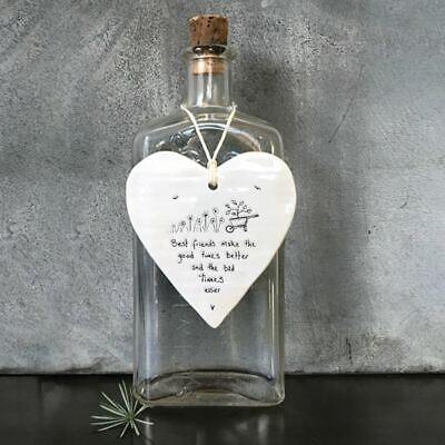 East Of India Porcelain Hanging Heart 'Best Friends Make The Good Times' Gift • 6.65£