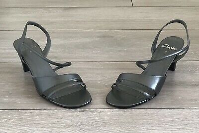 £12.99 • Buy Clarks Silver Synthetic Strappy Slingback Mid Heel Open Toe Shoes Uk Size 5 D