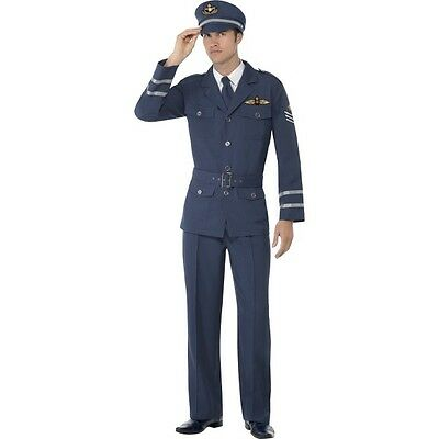 Men's WW2 Air Force Captain 1940's Fancy Dress Costume Outfit Military Stag Fun  • 33.15£